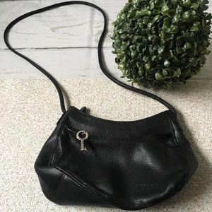 Fossil Black Leather Crossbody Bag w/ Silver Key